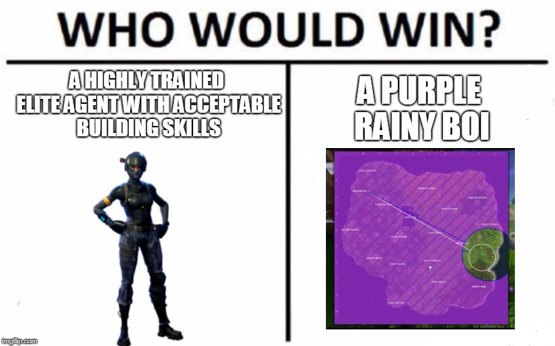 Who Would Win? Meme | A HIGHLY TRAINED ELITE AGENT WITH ACCEPTABLE BUILDING SKILLS A PURPLE RAINY BOI | image tagged in memes,who would win | made w/ Imgflip meme maker