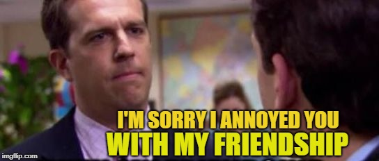 How rude of me | I'M SORRY I ANNOYED YOU WITH MY FRIENDSHIP | image tagged in sorry,so sorry,cheerios,mo mo memes,funny meme | made w/ Imgflip meme maker