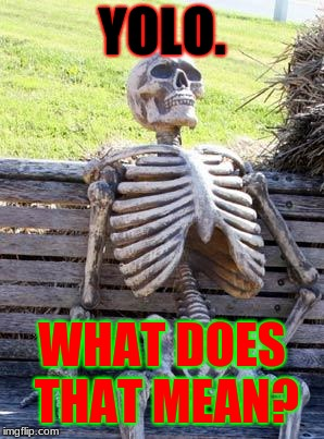 Waiting Skeleton Meme | YOLO. WHAT DOES THAT MEAN? | image tagged in memes,waiting skeleton | made w/ Imgflip meme maker