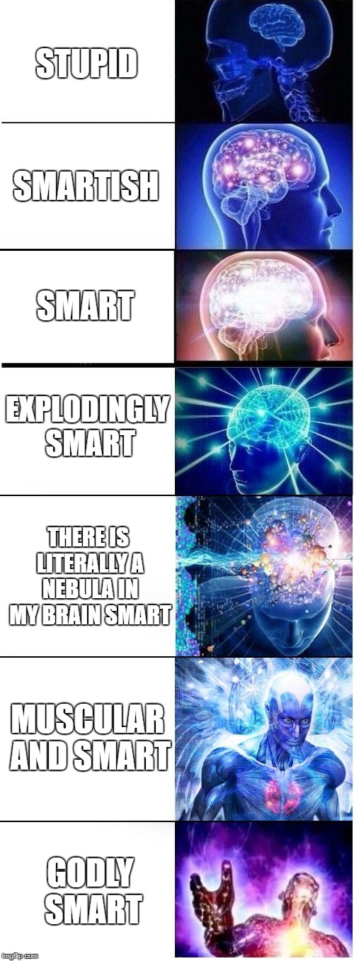 Expanding Brain Plus | STUPID SMARTISH SMART EXPLODINGLY SMART THERE IS LITERALLY A NEBULA IN MY BRAIN SMART MUSCULAR AND SMART GODLY SMART | image tagged in expanding brain plus | made w/ Imgflip meme maker