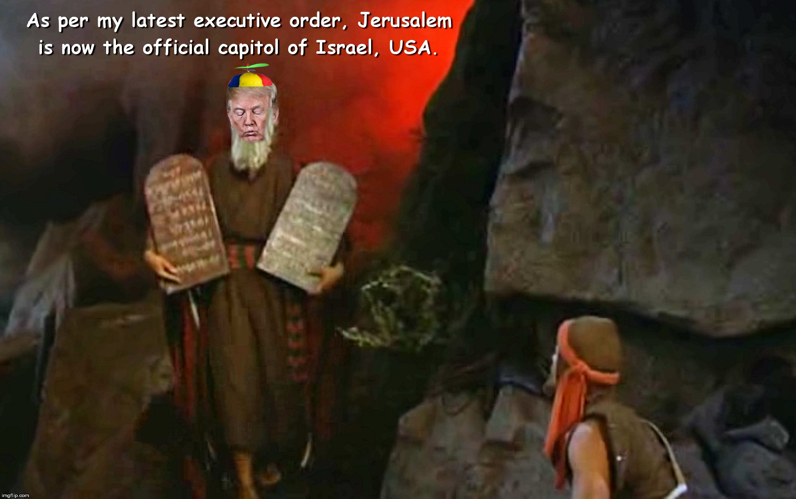 By Way Of Deception Thou Shalt Do War | image tagged in trump moses | made w/ Imgflip meme maker