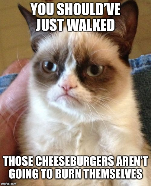 Grumpy Cat Meme | YOU SHOULD'VE JUST WALKED THOSE CHEESEBURGERS AREN'T GOING TO BURN THEMSELVES | image tagged in memes,grumpy cat | made w/ Imgflip meme maker