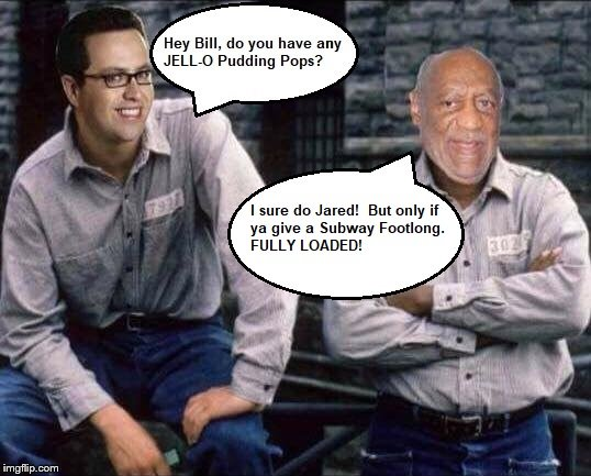 Bill Cosby and Jared Fogle in Prison | image tagged in bill cosby,jared from subway | made w/ Imgflip meme maker
