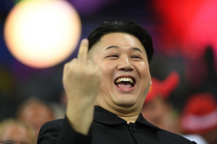 Kim Jong Un middle finger | . | image tagged in kim jong un middle finger | made w/ Imgflip meme maker