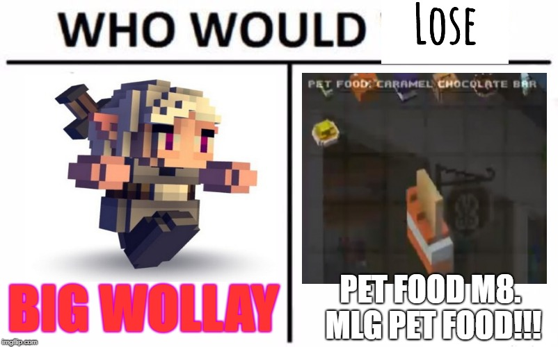 Cube world PVP of the century!!! | BIG WOLLAY PET FOOD M8. MLG PET FOOD!!! | image tagged in memes,who would win | made w/ Imgflip meme maker