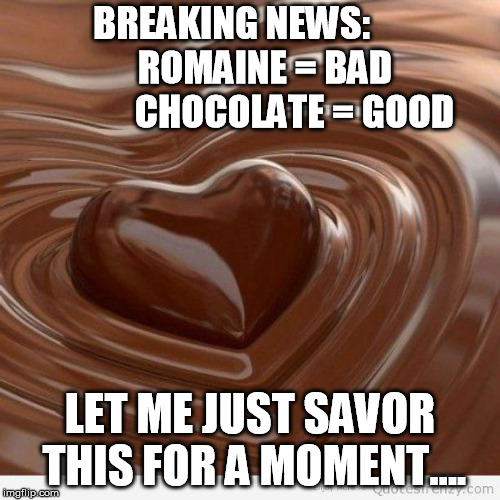 Romaine vs Chocolate | BREAKING NEWS:            ROMAINE = BAD               CHOCOLATE = GOOD LET ME JUST SAVOR THIS FOR A MOMENT.... | image tagged in chocolate | made w/ Imgflip meme maker