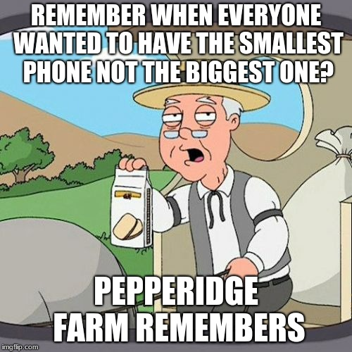 Pepperidge Farm Remembers Meme | REMEMBER WHEN EVERYONE WANTED TO HAVE THE SMALLEST PHONE NOT THE BIGGEST ONE? PEPPERIDGE FARM REMEMBERS | image tagged in memes,pepperidge farm remembers,funny,funny memes | made w/ Imgflip meme maker