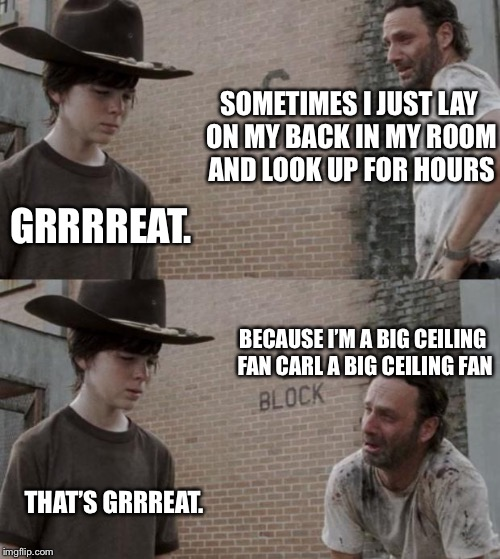 Rick and Carl Meme | SOMETIMES I JUST LAY ON MY BACK IN MY ROOM AND LOOK UP FOR HOURS GRRRREAT. THAT'S GRRREAT. BECAUSE I'M A BIG CEILING FAN CARL A BIG CEILING  | image tagged in memes,rick and carl | made w/ Imgflip meme maker