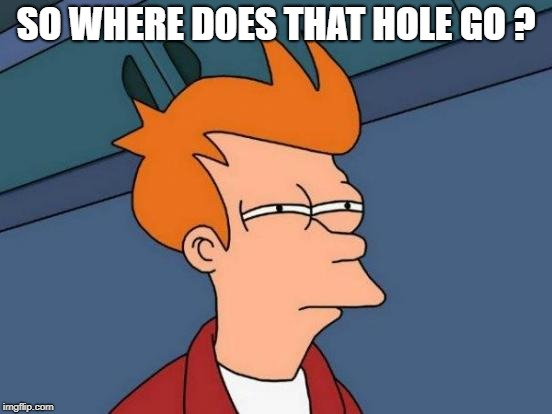 Futurama Fry Meme | SO WHERE DOES THAT HOLE GO ? | image tagged in memes,futurama fry | made w/ Imgflip meme maker