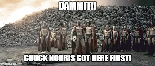 Chuck Norris 300 | DAMMIT!! CHUCK NORRIS GOT HERE FIRST! | image tagged in 300,sparta,chuck norris,memes | made w/ Imgflip meme maker