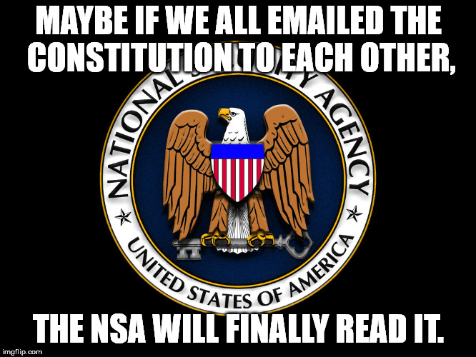 MAYBE IF WE ALL EMAILED THE CONSTITUTION TO EACH OTHER, THE NSA WILL FINALLY READ IT. | image tagged in nsa | made w/ Imgflip meme maker