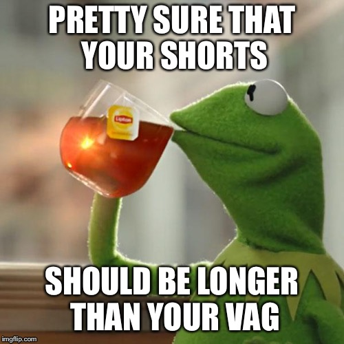 But Thats None Of My Business Meme | PRETTY SURE THAT YOUR SHORTS SHOULD BE LONGER THAN YOUR VAG | image tagged in memes,but thats none of my business,kermit the frog | made w/ Imgflip meme maker