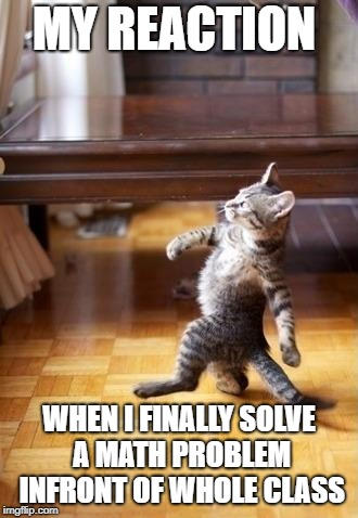 Cool Cat Stroll Meme | MY REACTION WHEN I FINALLY SOLVE A MATH PROBLEM INFRONT OF WHOLE CLASS | image tagged in memes,cool cat stroll | made w/ Imgflip meme maker