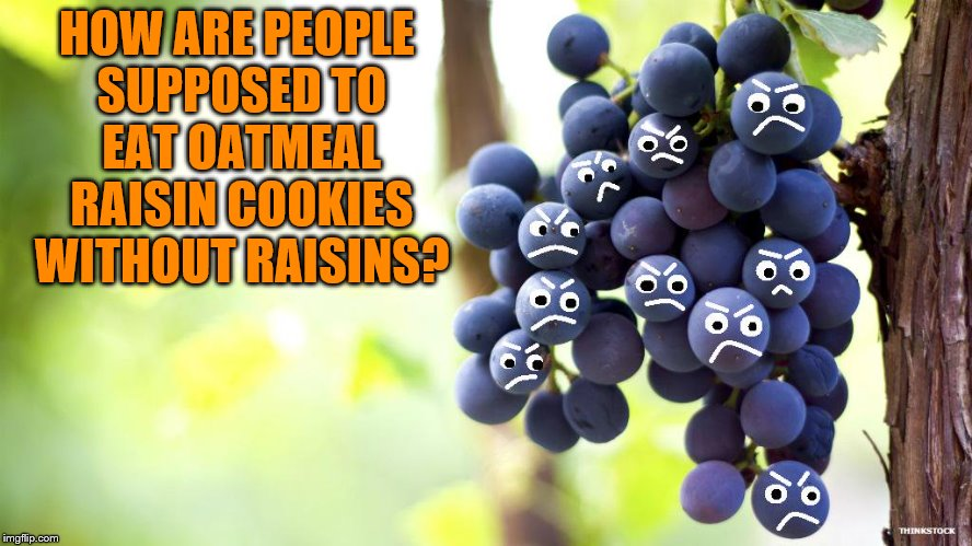 HOW ARE PEOPLE SUPPOSED TO EAT OATMEAL RAISIN COOKIES WITHOUT RAISINS? | made w/ Imgflip meme maker