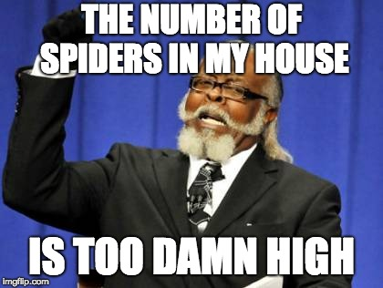 Too Damn High Meme | THE NUMBER OF SPIDERS IN MY HOUSE IS TOO DAMN HIGH | image tagged in memes,too damn high,AdviceAnimals | made w/ Imgflip meme maker