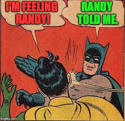 Please keep your hands inside your personal space at all times. | I'M FEELING RANDY! RANDY TOLD ME. | image tagged in memes,batman slapping robin,personal space | made w/ Imgflip meme maker