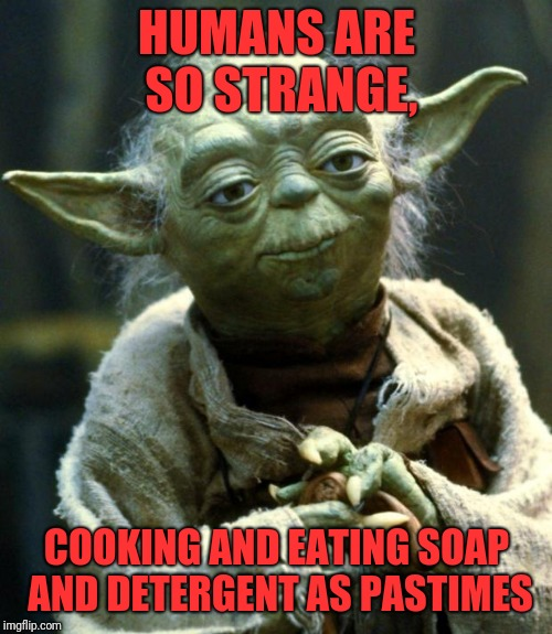 Star Wars Yoda Meme | HUMANS ARE SO STRANGE, COOKING AND EATING SOAP AND DETERGENT AS PASTIMES | image tagged in memes,star wars yoda | made w/ Imgflip meme maker