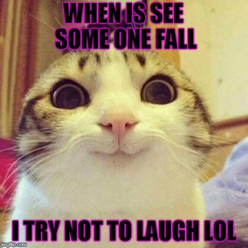Smiling Cat Meme | WHEN IS SEE SOME ONE FALL I TRY NOT TO LAUGH LOL | image tagged in memes,smiling cat | made w/ Imgflip meme maker