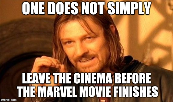 One Does Not Simply Meme | ONE DOES NOT SIMPLY LEAVE THE CINEMA BEFORE THE MARVEL MOVIE FINISHES | image tagged in memes,one does not simply,marvel,movie,funny | made w/ Imgflip meme maker