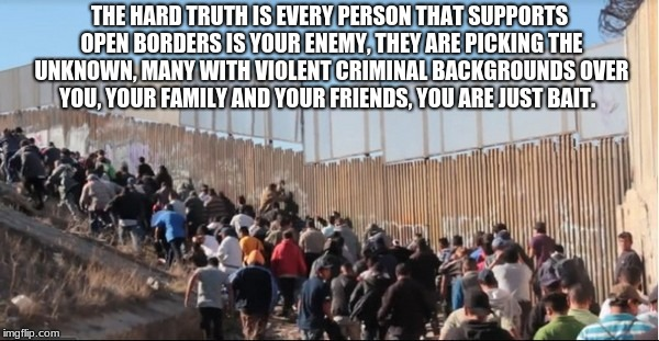 Illegal Immigrants | THE HARD TRUTH IS EVERY PERSON THAT SUPPORTS OPEN BORDERS IS YOUR ENEMY, THEY ARE PICKING THE UNKNOWN, MANY WITH VIOLENT CRIMINAL BACKGROUND | image tagged in illegal immigrants | made w/ Imgflip meme maker