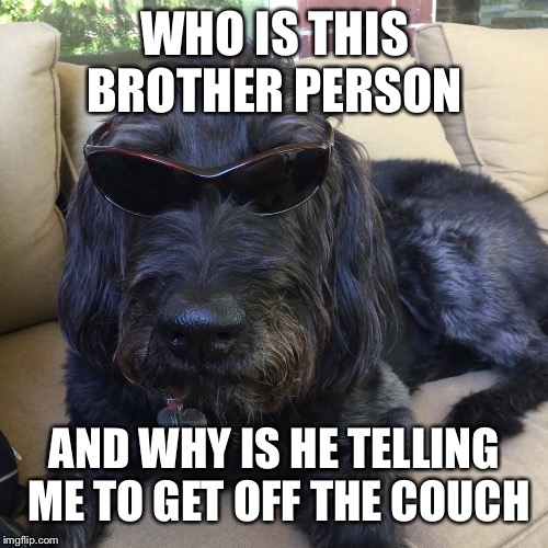 WHO IS THIS BROTHER PERSON AND WHY IS HE TELLING ME TO GET OFF THE COUCH | made w/ Imgflip meme maker