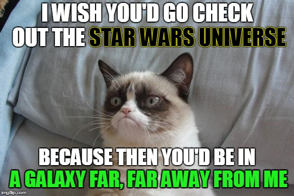 Quit Yo' Jibba Jabba. Star Wars Week: May the 4th Be With You. | I WISH YOU'D GO CHECK OUT THE STAR WARS UNIVERSE BECAUSE THEN YOU'D BE IN A GALAXY FAR, FAR AWAY FROM ME STAR WARS UNIVERSE A GALAXY FAR, FA | image tagged in memes,grumpy cat bed,grumpy cat,star wars,star wars week,a galaxy far far away | made w/ Imgflip meme maker