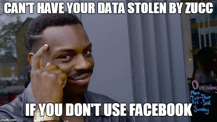Roll Safe Think About It Meme | CAN'T HAVE YOUR DATA STOLEN BY ZUCC IF YOU DON'T USE FACEBOOK | image tagged in memes,roll safe think about it | made w/ Imgflip meme maker