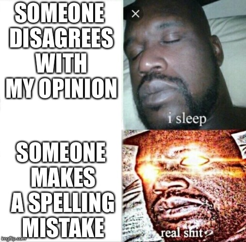 Grammar nazi shaq | SOMEONE DISAGREES WITH MY OPINION SOMEONE MAKES A SPELLING MISTAKE | image tagged in memes,sleeping shaq,grammar nazi | made w/ Imgflip meme maker
