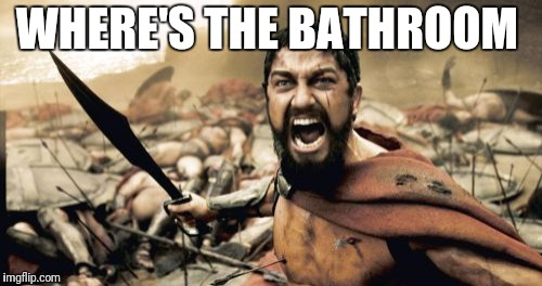 Sparta Leonidas Meme | WHERE'S THE BATHROOM | image tagged in memes,sparta leonidas | made w/ Imgflip meme maker