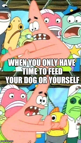 Put It Somewhere Else Patrick Meme | WHEN YOU ONLY HAVE TIME TO FEED YOUR DOG OR YOURSELF | image tagged in memes,put it somewhere else patrick | made w/ Imgflip meme maker