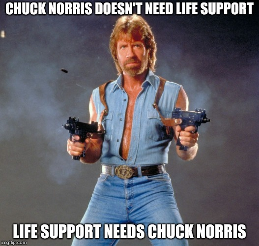 Chuck Norris Guns Meme | CHUCK NORRIS DOESN'T NEED LIFE SUPPORT LIFE SUPPORT NEEDS CHUCK NORRIS | image tagged in memes,chuck norris guns,chuck norris | made w/ Imgflip meme maker