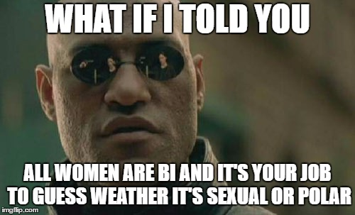 Matrix Morpheus Meme | WHAT IF I TOLD YOU ALL WOMEN ARE BI AND IT'S YOUR JOB TO GUESS WEATHER IT'S SEXUAL OR POLAR | image tagged in memes,matrix morpheus,random,women | made w/ Imgflip meme maker