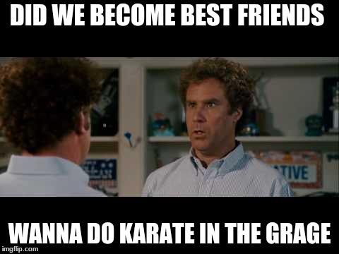 DID WE BECOME BEST FRIENDS WANNA DO KARATE IN THE GRAGE | image tagged in best friends | made w/ Imgflip meme maker