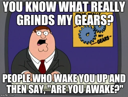 "Peter Griffin News Meme | YOU KNOW WHAT REALLY GRINDS MY GEARS? PEOPLE WHO WAKE YOU UP AND THEN SAY, ""ARE YOU AWAKE?"" 