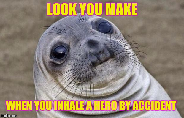 Awkward Moment Sealion Meme | LOOK YOU MAKE WHEN YOU INHALE A HERO BY ACCIDENT | image tagged in memes,awkward moment sealion | made w/ Imgflip meme maker