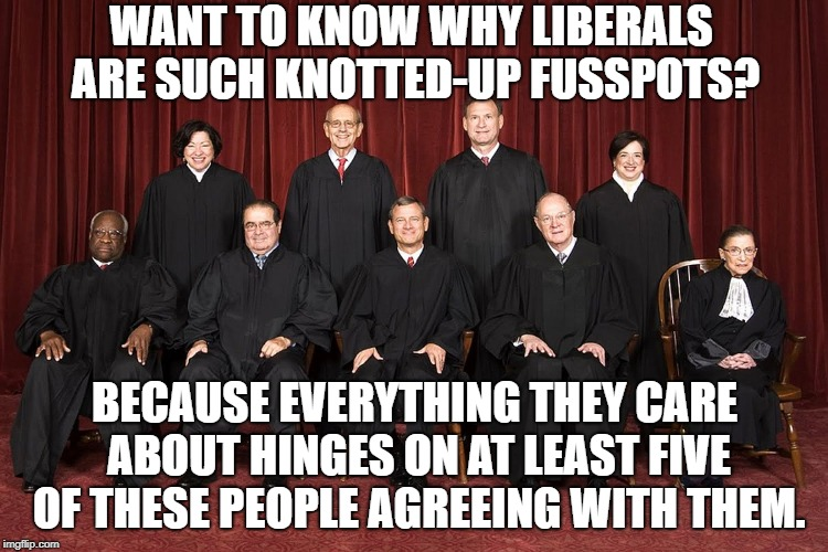You'd Be Miserable Too If Your Life Hung On Such A Thread | WANT TO KNOW WHY LIBERALS ARE SUCH KNOTTED-UP FUSSPOTS? BECAUSE EVERYTHING THEY CARE ABOUT HINGES ON AT LEAST FIVE OF THESE PEOPLE AGREEING  | image tagged in supreme court,memes,liberals | made w/ Imgflip meme maker