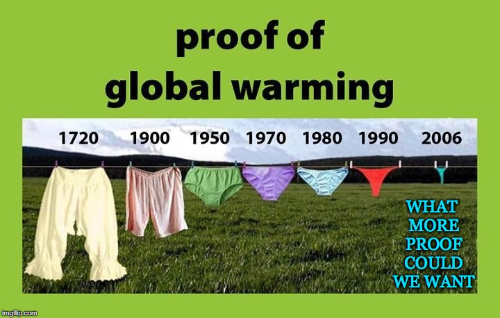 Proof is in the.... | WHAT MORE PROOF COULD WE WANT | image tagged in global warming,proof,underwear,climate change,want | made w/ Imgflip meme maker
