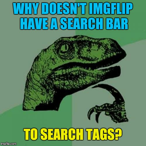 Or is that on PC only | WHY DOESN'T IMGFLIP HAVE A SEARCH BAR TO SEARCH TAGS? | image tagged in memes,philosoraptor,imgflip,imgflip users | made w/ Imgflip meme maker