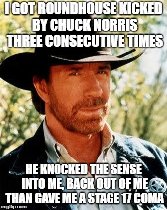 Chuck Norris was not a happy man at that time. | I GOT ROUNDHOUSE KICKED BY CHUCK NORRIS THREE CONSECUTIVE TIMES HE KNOCKED THE SENSE INTO ME, BACK OUT OF ME THAN GAVE ME A STAGE 17 COMA | image tagged in memes,chuck norris | made w/ Imgflip meme maker