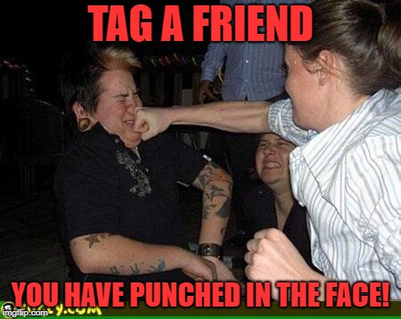 Face punch | TAG A FRIEND YOU HAVE PUNCHED IN THE FACE! | image tagged in face punch | made w/ Imgflip meme maker