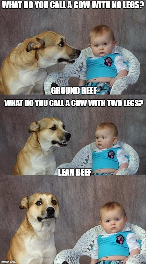 Low Steaks Humor | WHAT DO YOU CALL A COW WITH NO LEGS? GROUND BEEF WHAT DO YOU CALL A COW WITH TWO LEGS? LEAN BEEF | image tagged in memes,dad joke dog | made w/ Imgflip meme maker