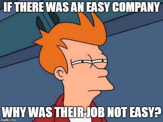 Futurama Fry Meme | IF THERE WAS AN EASY COMPANY WHY WAS THEIR JOB NOT EASY? | image tagged in memes,futurama fry | made w/ Imgflip meme maker