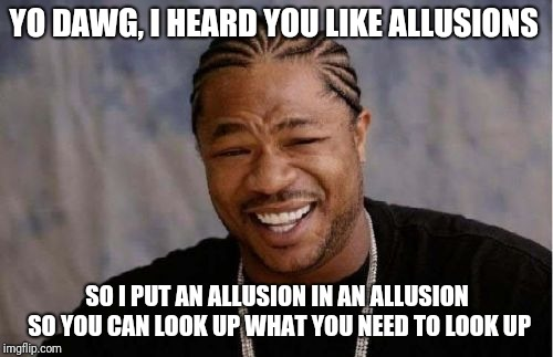 Yo Dawg Heard You Meme | YO DAWG, I HEARD YOU LIKE ALLUSIONS SO I PUT AN ALLUSION IN AN ALLUSION SO YOU CAN LOOK UP WHAT YOU NEED TO LOOK UP | image tagged in memes,yo dawg heard you | made w/ Imgflip meme maker