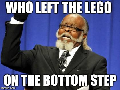 Too Damn High Meme | WHO LEFT THE LEGO ON THE BOTTOM STEP | image tagged in memes,too damn high | made w/ Imgflip meme maker