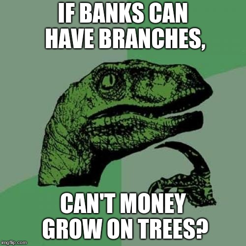 Philosoraptor Meme | IF BANKS CAN HAVE BRANCHES, CAN'T MONEY GROW ON TREES? | image tagged in memes,philosoraptor | made w/ Imgflip meme maker