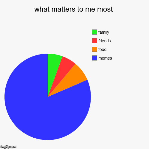 what matters to me most | memes, food, friends, family | image tagged in funny,pie charts | made w/ Imgflip pie chart maker