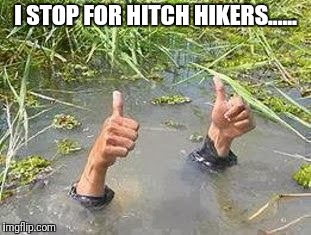 FLOODING THUMBS UP | I STOP FOR HITCH HIKERS...... | image tagged in flooding thumbs up,hitchhiker,hitch hiker,jokes,joke,upvote | made w/ Imgflip meme maker
