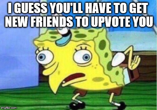 Mocking Spongebob Meme | I GUESS YOU'LL HAVE TO GET NEW FRIENDS TO UPVOTE YOU | image tagged in memes,mocking spongebob | made w/ Imgflip meme maker