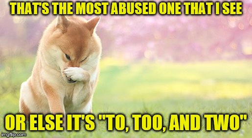 "THAT'S THE MOST ABUSED ONE THAT I SEE OR ELSE IT'S ""TO, TOO, AND TWO"" 