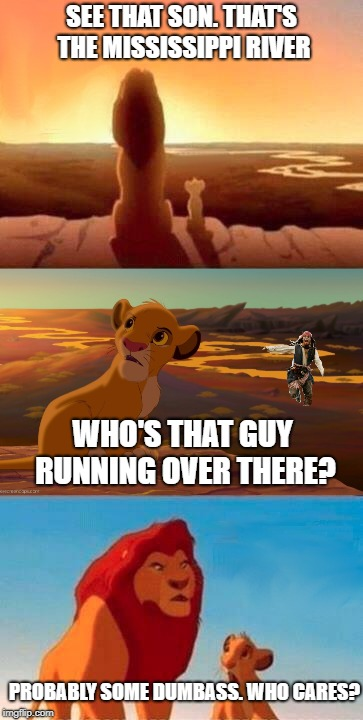 Mississippi King | SEE THAT SON. THAT'S THE MISSISSIPPI RIVER WHO'S THAT GUY RUNNING OVER THERE? PROBABLY SOME DUMBASS. WHO CARES? | image tagged in funny memes,doesn't have to make sense,lions,lion king meme | made w/ Imgflip meme maker